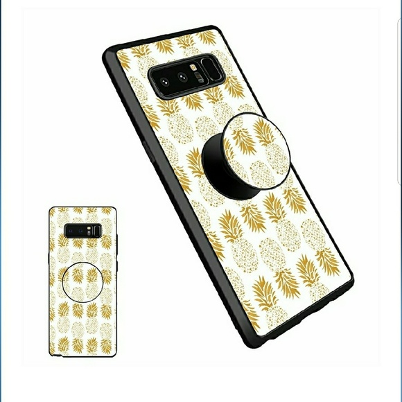 new product fca77 19def samsung note 8 pineapple phone case w/ pop socket